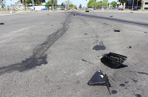 Car accident wreckage from a hit and run